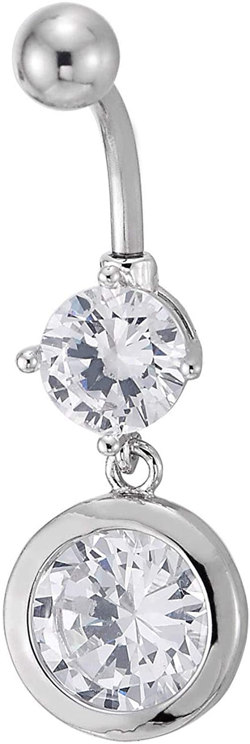 COOLSTEELANDBEYOND Steel Belly Button Ring Body Jewelry Piercing Navel Ring with Dangling Cubic Zirconia Circle