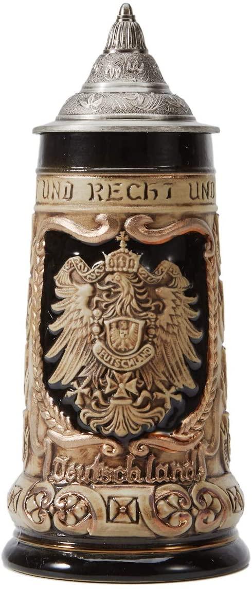 HAUCOZE Beer Stein German Beer Stein Ceramic Beer Mug Handmade Cup Tankard Petwer Lid Germany Coats of Arms Relief Gifts Souvenirs Giftbox 0.8 Liter