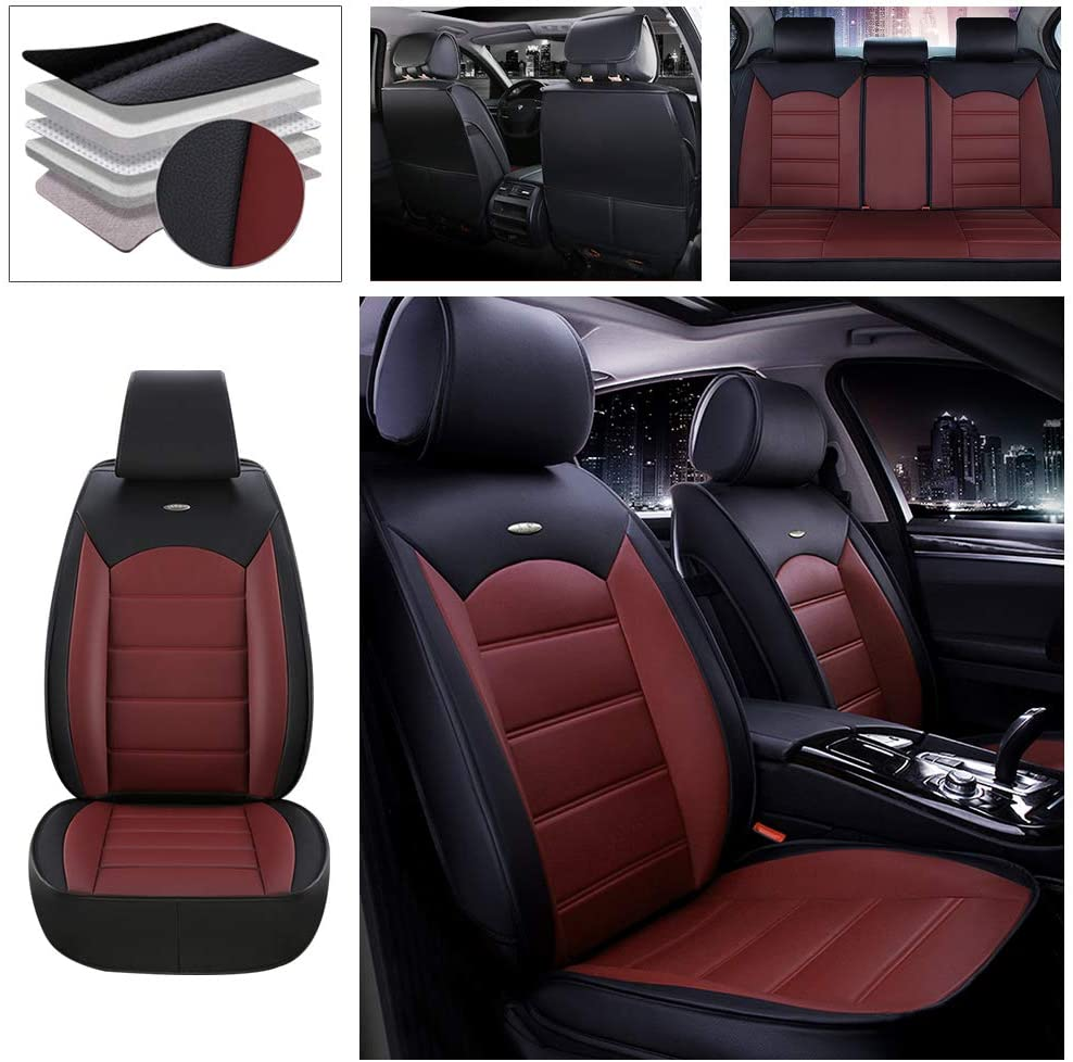 DBL Full Set Car Seat Cover for Audi Q5 (Airbag Compatible) PU Leatherette Car Seat Cushions Protector Black & Red