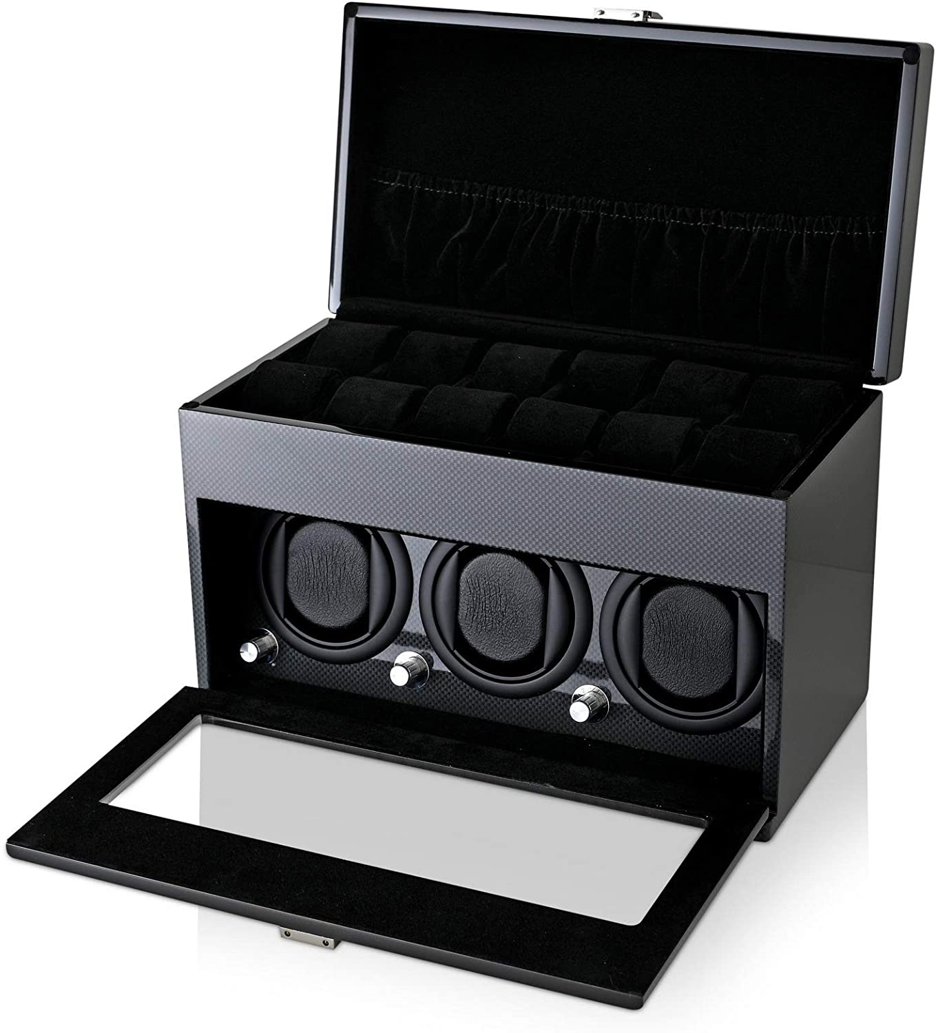 Watch Winder and Storage Box for Winding 3 Automatic Watches and 12 Watch Storage Space