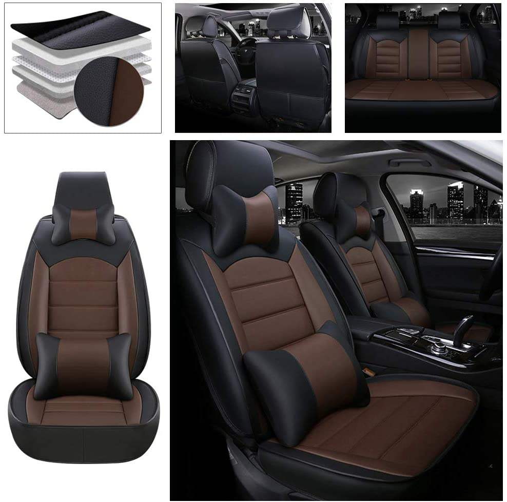 DBL Full Set Car Seat Cover for SEAT Leon (Airbag Compatible) Luxury PU Leatherette Car Seat Cushions Protector Black & Coffee