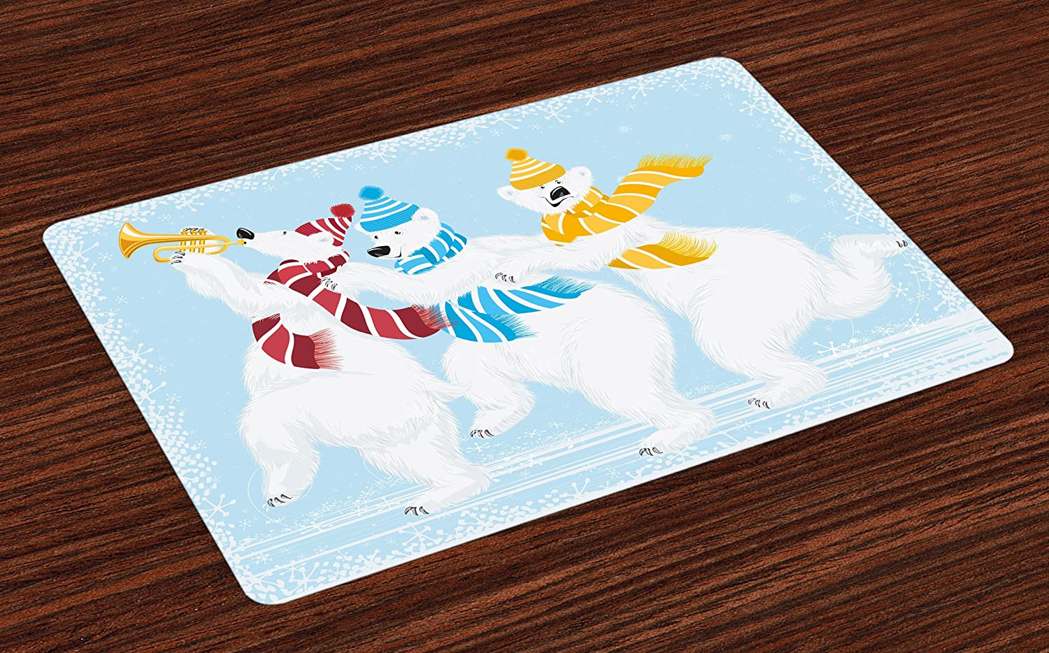Ambesonne Bear Place Mats Set of 4, Christmas Time at North Pole Theme 3 Funny Characters with Scarves and Trumpet, Washable Fabric Placemats for Dining Room Kitchen Table Decor, Yellow Blue