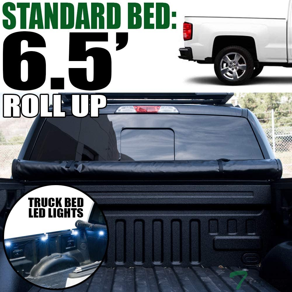 Topline Autopart Lock & Roll Up Soft Vinyl Tonneau Cover & Truck Bed LED Lighting System For 14-18 Chevy Silverado/GMC Sierra 1500/15-18 2500 HD / 3500 HD/Denali 6.5 Feet (78