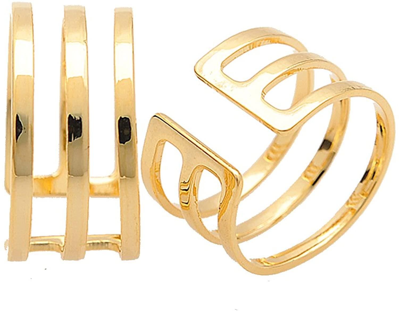chelseachicNYC Three Line Adjustable Ring and Midi Ring Set of 2
