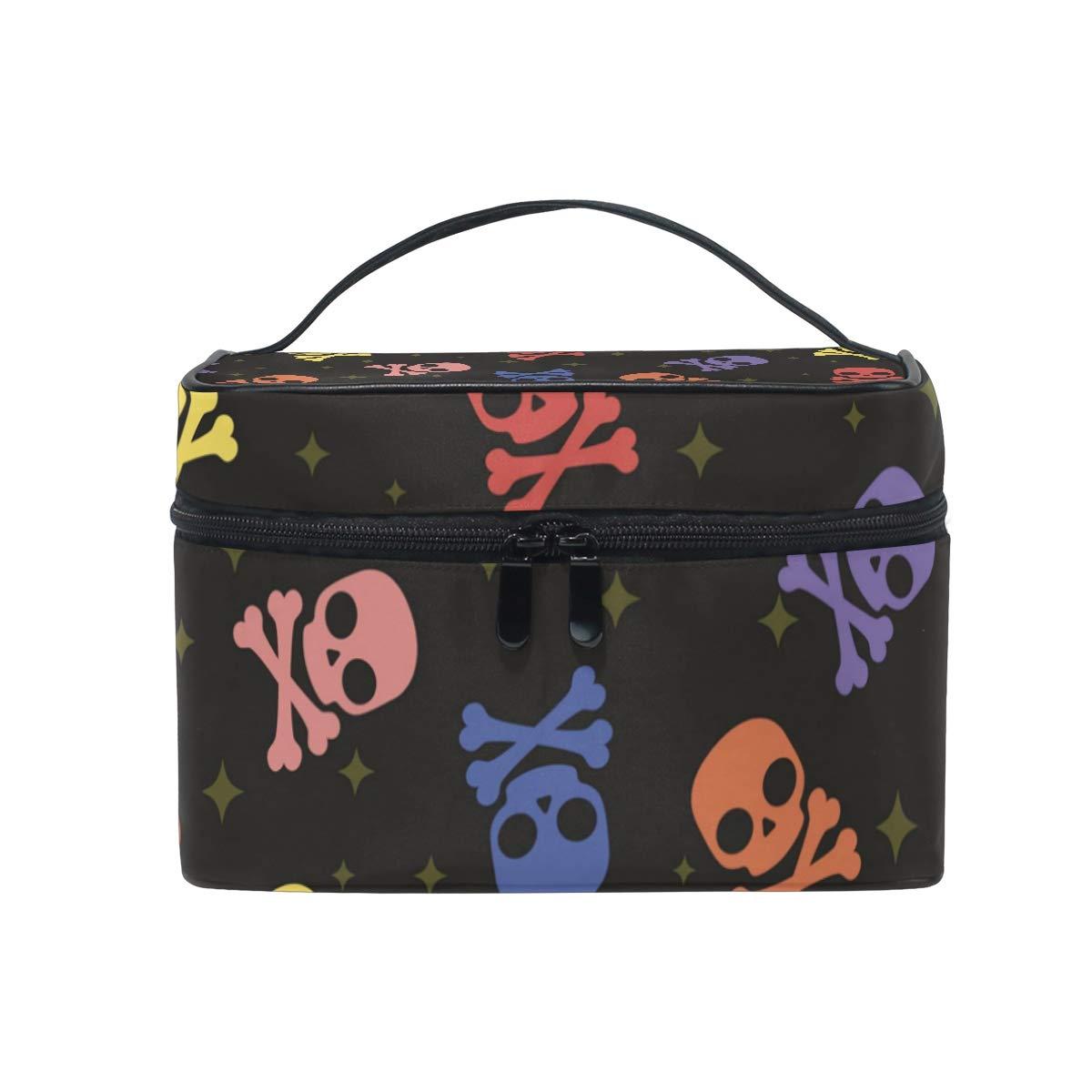 Large Travel Makeup Train Case Skull Colorful Carrying Portable Zip Cosmetic Brush Bag Makeup Bag Organizer for Girls Women