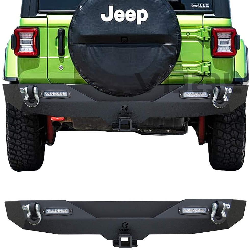 Vijay Rear Bumper With Hitch Receiver & 2x 18 LED Lights for 2018-2020 Jeep Wrangler JL/JLU