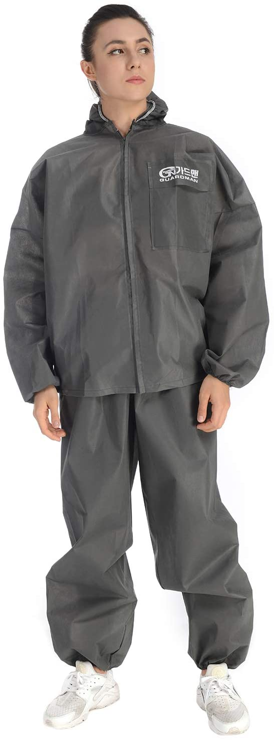 Disposable Protective Coverall Suit Insulated Coverall Split Suit Hooded Clothing with Elastic Cuffs for Cleaning Service, Painting, Manufacturing