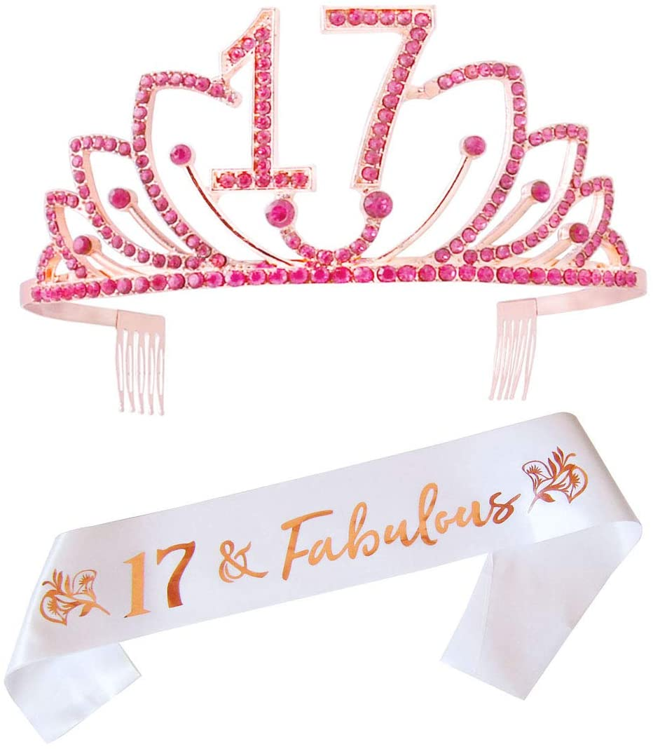17th Birthday Tiara and Sash,17th Birthday Gifts for Women,Happy 17th Birthday Party Supplies,17th Birthday Crown and Sash,17th Cake Topper