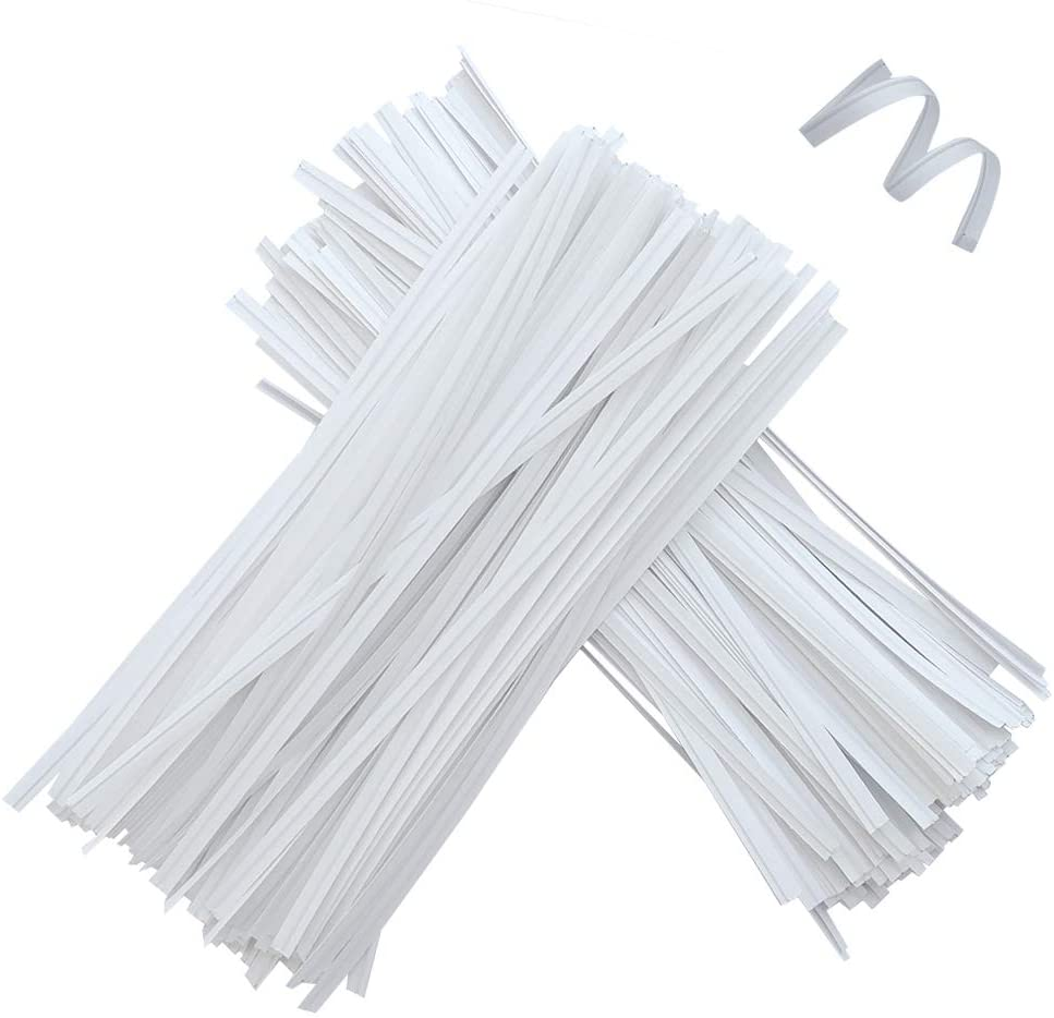 1000 Pcs 6 Inches Kraft Paper Twist Ties, White Bendable Reusable Bread Ties for Packaging bag Valentines Gift Electronics Cords (6INCH)