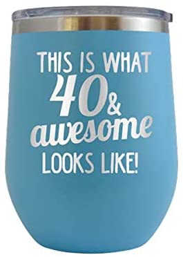 This is What 40 & Awesome Looks Like - Engraved 12 oz Stemless Wine Tumbler Cup Glass Etched - Funny Birthday Gift Ideas for him her 40th forty over the hill hilarious 1979 (Baby Blue - 12 oz)