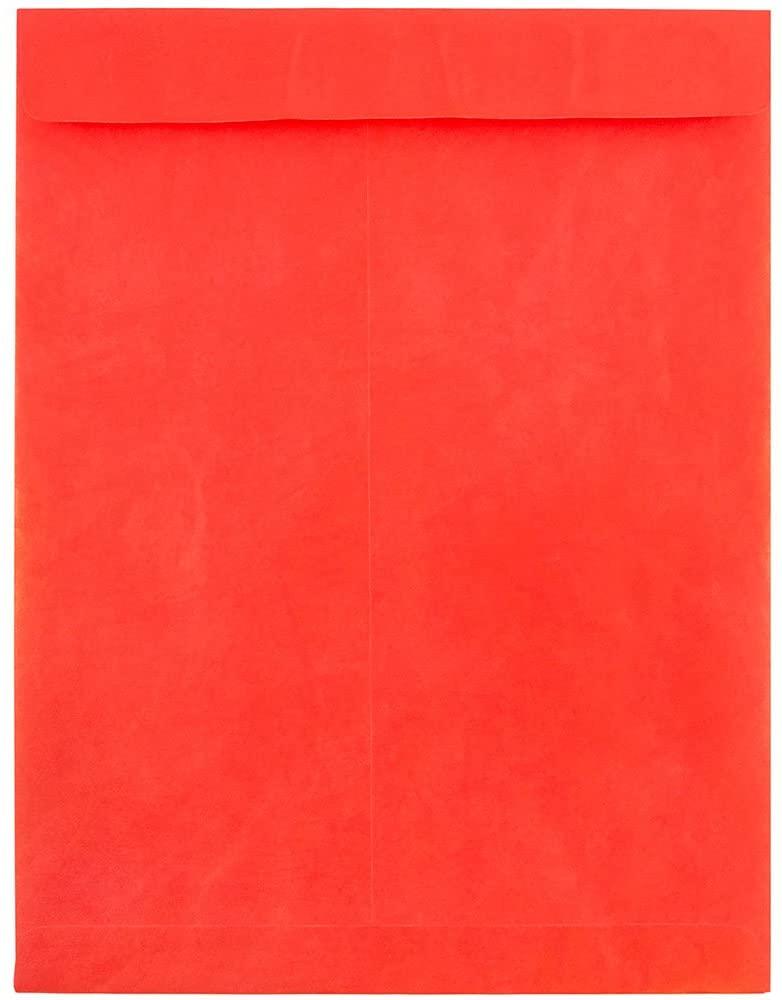 JAM PAPER Tyvek Tear-Proof Open End Catalog Envelopes - 10 x 13 - Red - 10/Pack