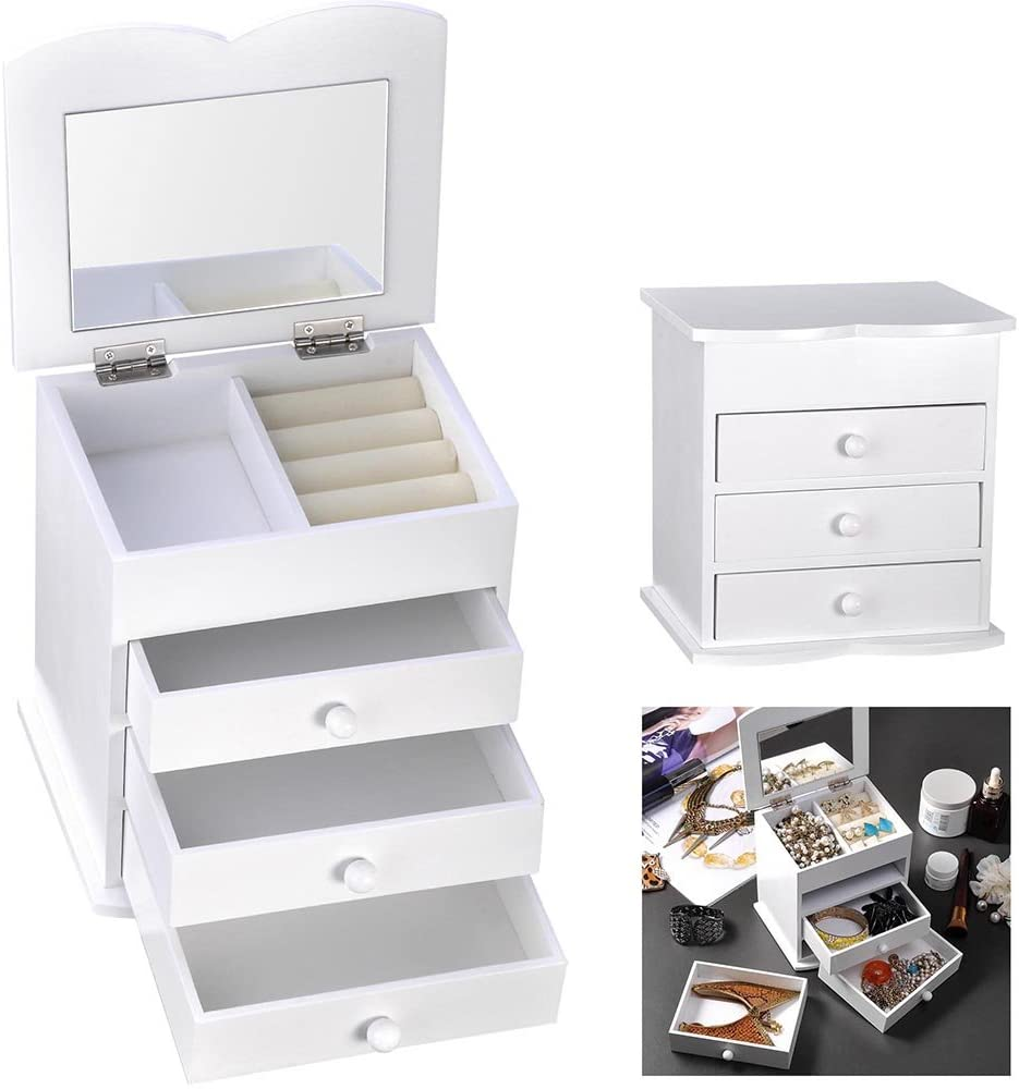 Yescom Wooden Jewelry Box Built-in Mirror Ring Earring Necklace Organizer Storage Case White