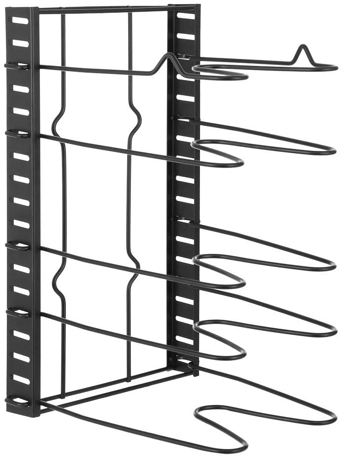 cobcob Pot Rack Cabinet,Adjustable Pan and Pot Lid Organizer Rack Holder for Kitchen Counter and Cabinet Cookware Rack Countertop Pantry Storage Holder (Black)