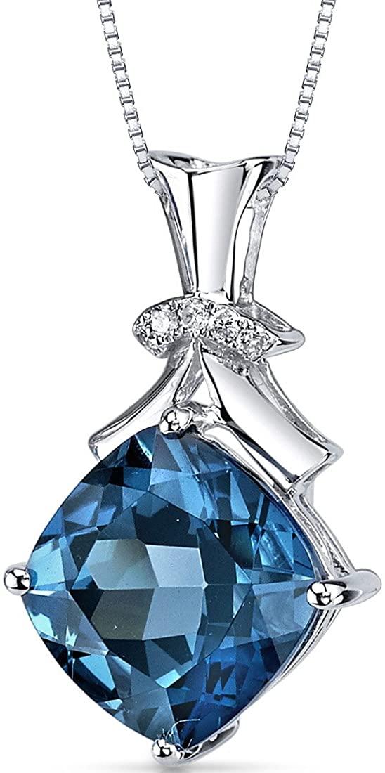 London Blue Topaz Diamond Pendant 14Kt White Gold Cushion Cut 6.2 Carats