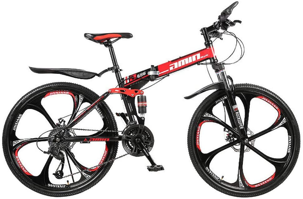 justHIGH Adult Mountain Bikes, 26 Inch Wheels 6 Spoke 21 Speed Folding Bike Adult Students Ultra-Light Portable Mountain Cycling