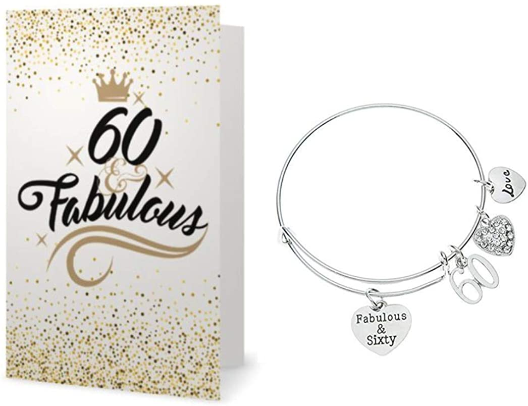 Infinity Collection 60th Birthday Charm Bracelet & Card Gift Set, 60th Birthday Gifts for Women, Fabulous & Sixty Stainless Steel Adjustable Bangle, Perfect 60th Birthday Gift Ideas
