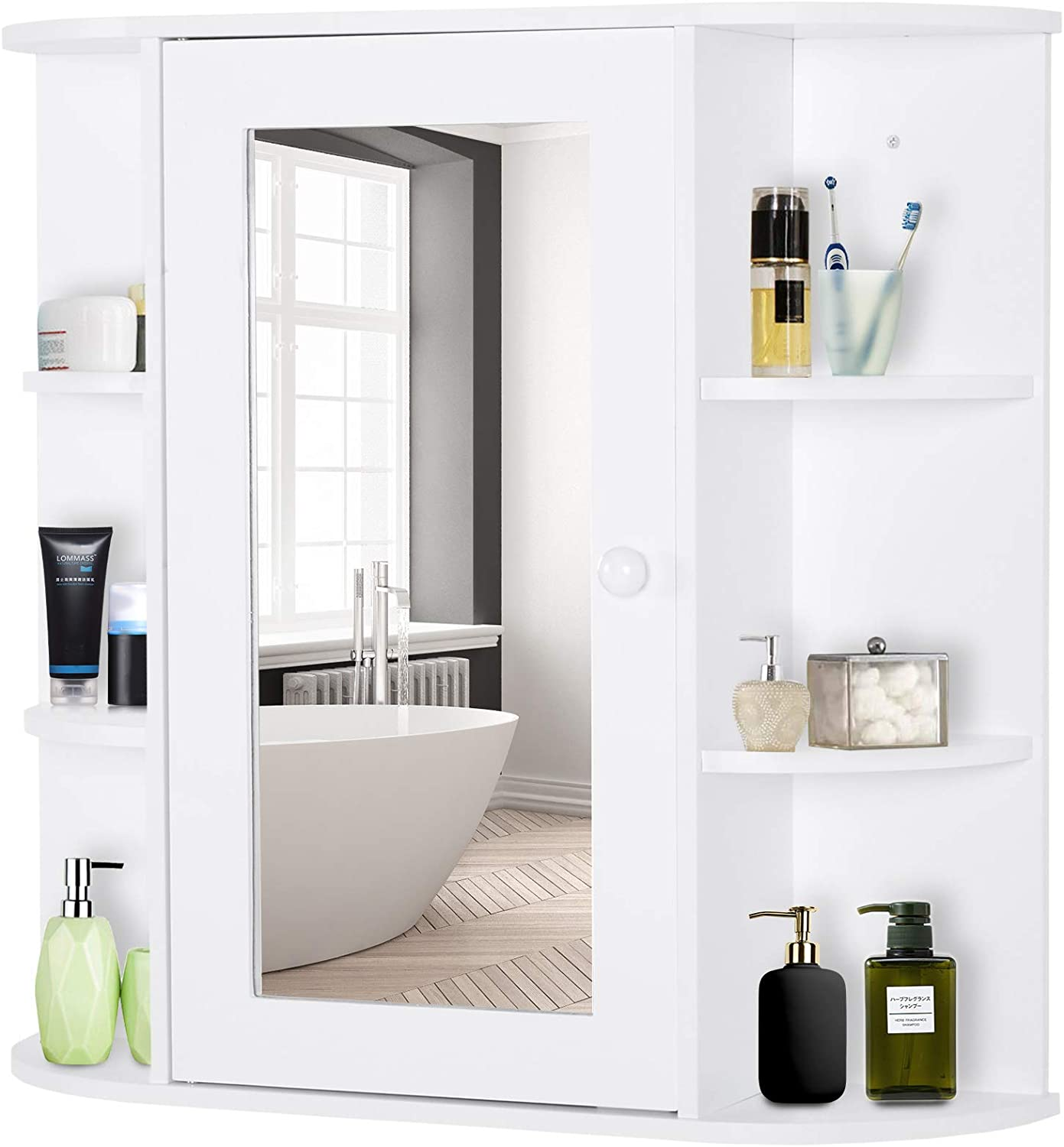 HOMCOM Over-The-Sink Bathroom Storage Organizer Cabinet with Mirrored Door and Multiple Shelves, White