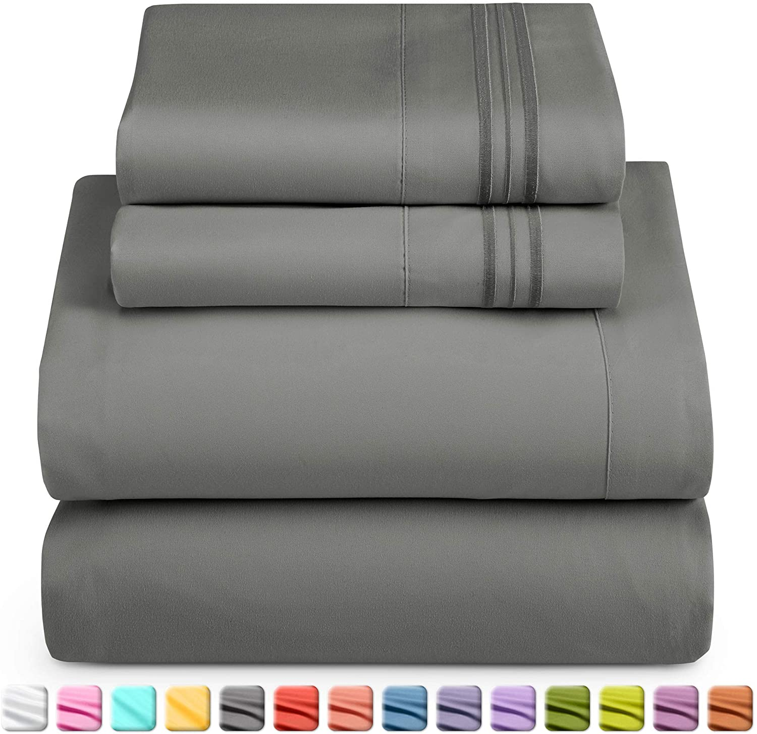 Nestl Deep Pocket Twin XL Sheets: Twin XL Size Bed Sheets with Fitted and Flat Sheet, Pillow Cases - Extra Soft Bedsheet Set with Deep Pockets for Twin XL Sized Mattress - Charcoal Stone Gray