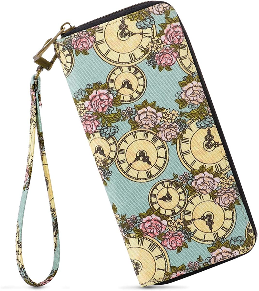 Womens Long Clutch Wallet Purse Credit Card Wallets to Organize Your Cash,Bank Card and Phone with Removable Wristlet Strap