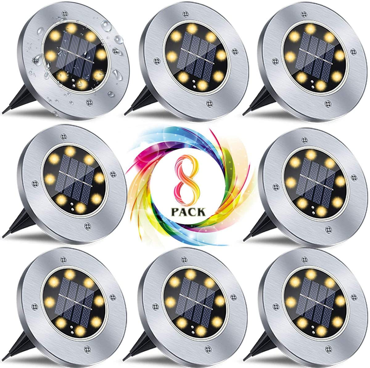 8 Pack Solar Ground Lights, Warm White 8 LED Solar Powered Outdoor in-Ground Waterproof Disk Garden Lights for Patio Pathway Walkway Driveway Fence Lawn
