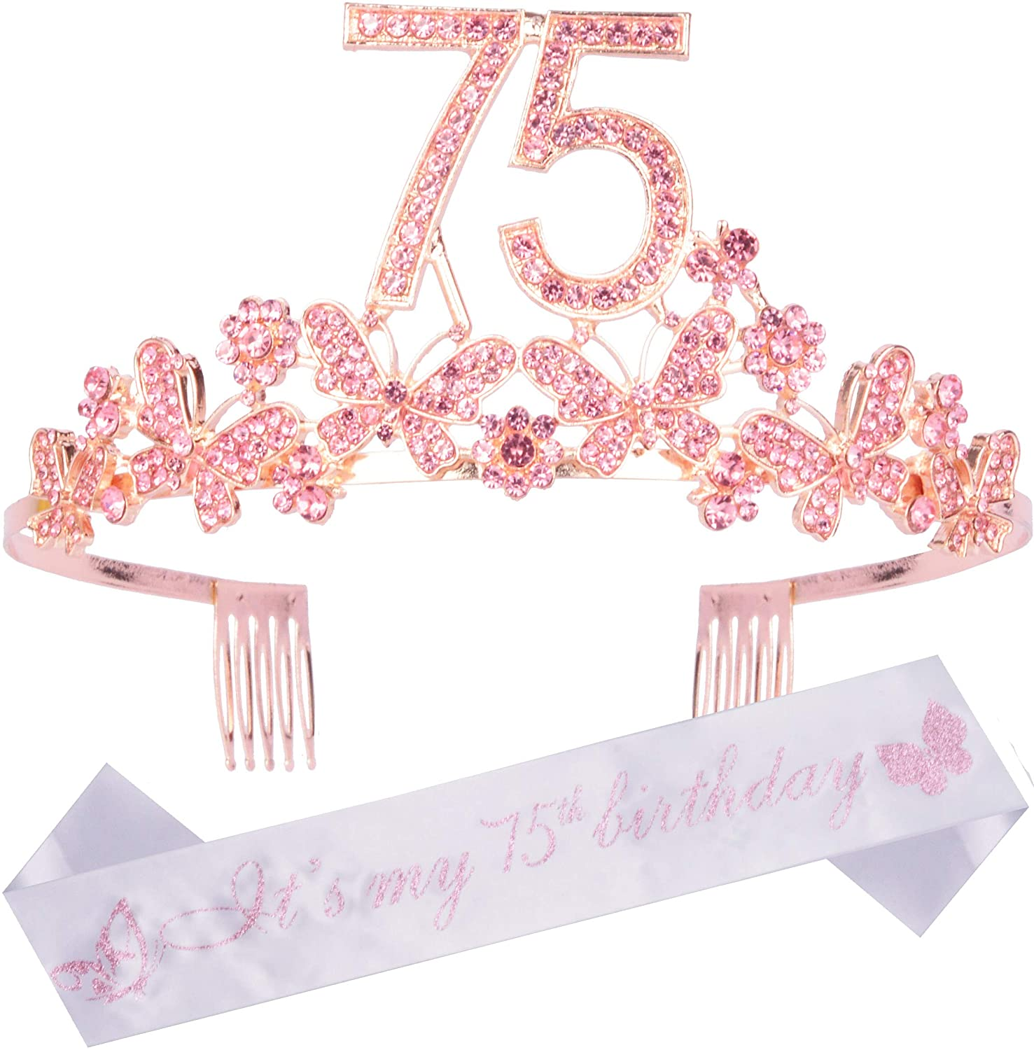 75th Birthday Decorations Party Supplies, 75th Birthday Gifts, Pink 75th Birthday Tiara and Sash, 75th White Satin Sash It's My 75th Birthday, 75th Birthday Party Supplies and Decorations, Happy 75th