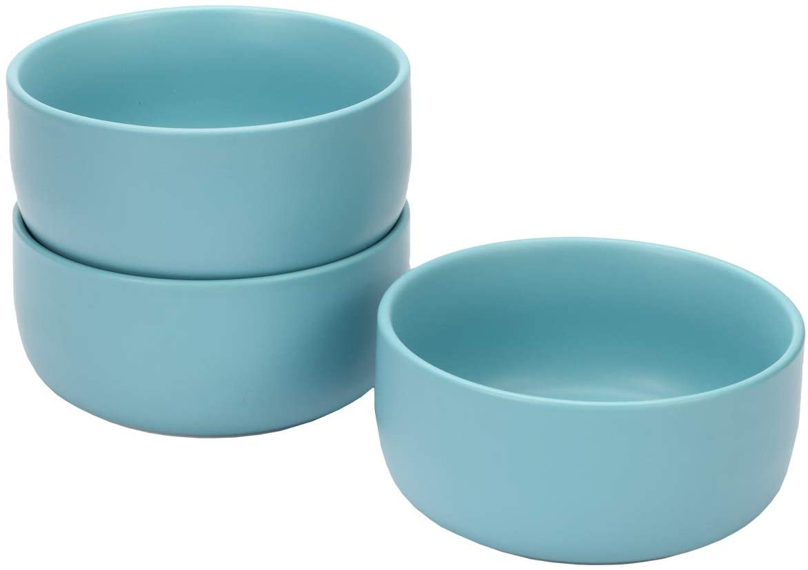 Monamour 25 OZ Matte Ceramic Bowl, Porcelain Bowl for Cereal, Rice, Soup, Oatmeal, Pasta, Salad,Set of 3 (Blue)