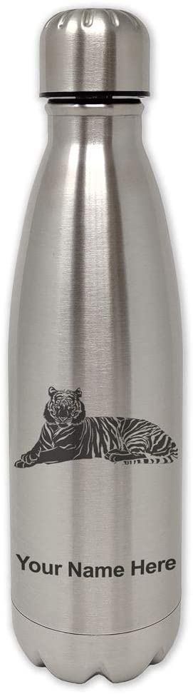 LaserGram Single Wall Stainless Steel Water Bottle, Tiger, Personalized Engraving Included
