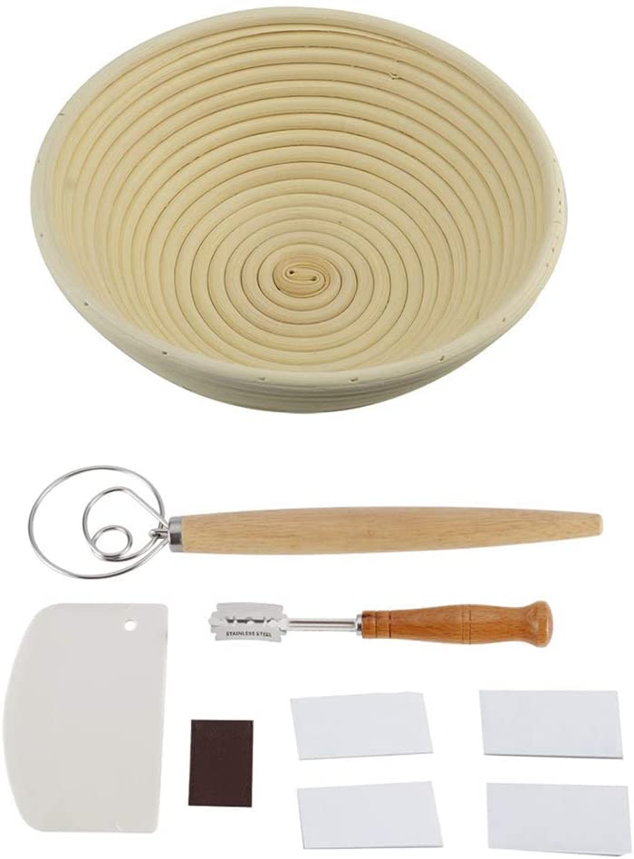 Bread Proofing Basket 9 Inch, Bread Banneton Proofing Basket for Dough Rising Baking Dough Bowl, Dough Whisk + Bread Knife + Bread Lame Scraper for Artisan Bread Baking