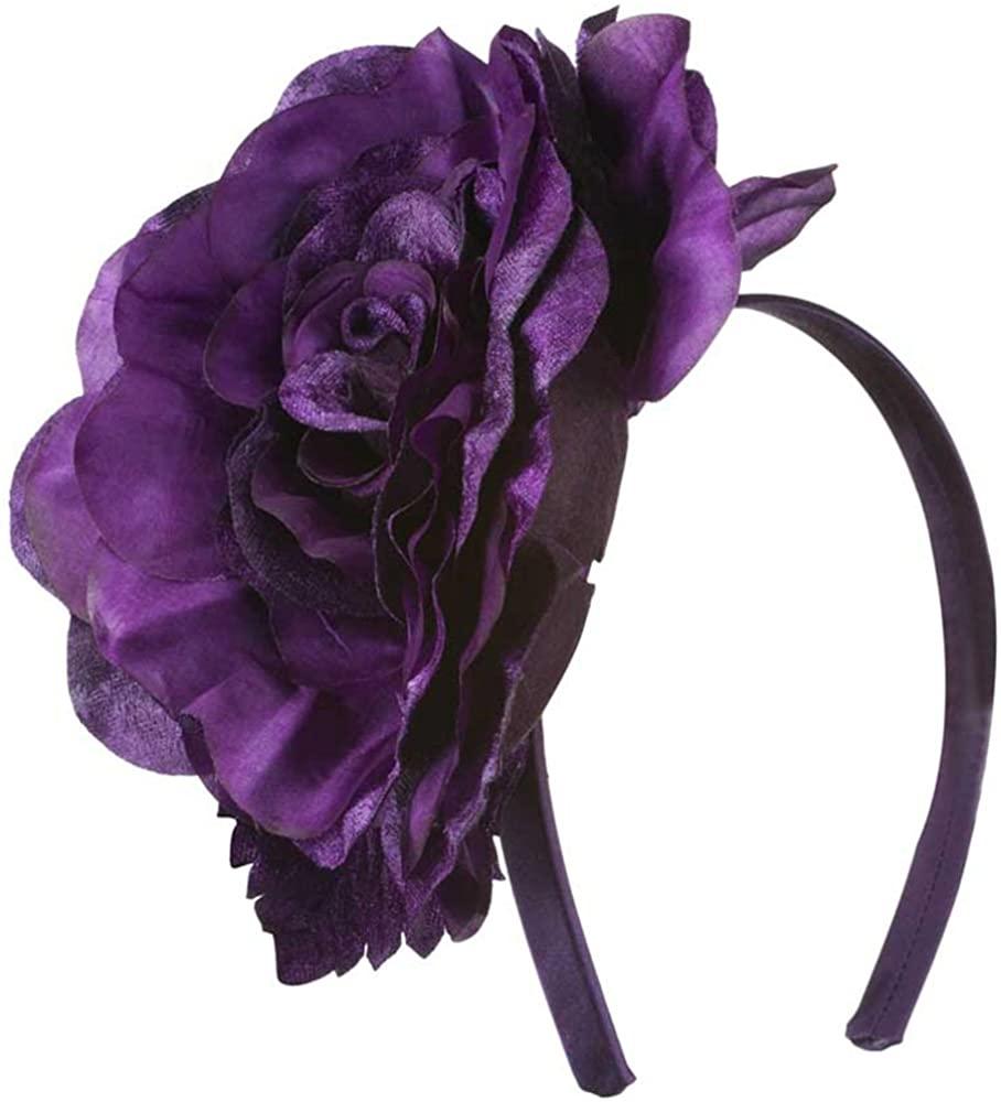 Jeanne Simmons 6 Inch Flower Satin Covered Headband - Dark Purple W15S70C