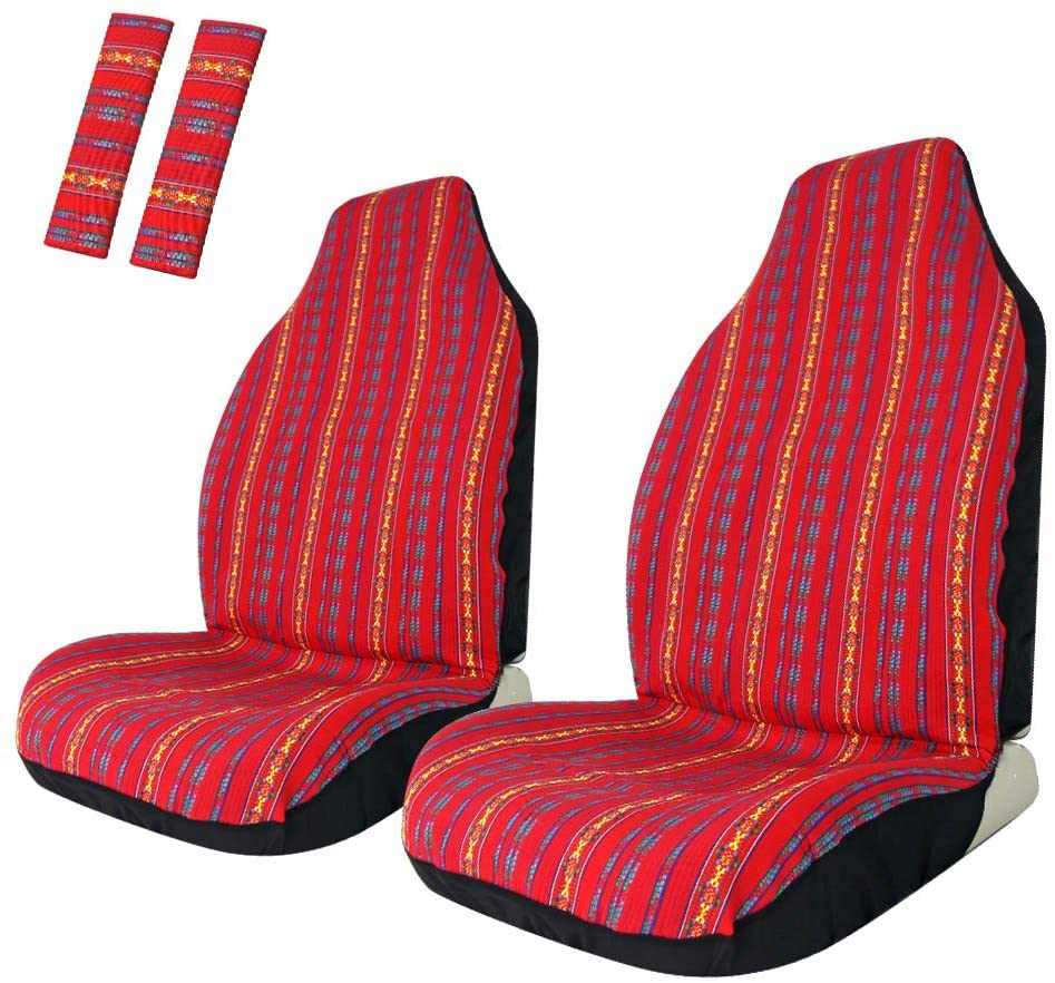 Copap Baja Front Seat Covers Red Stripe Colorful Saddle Blanket Seat Cover Universal for Car, SUV & Truck (2 seat Covers+2 seat Belt Covers)