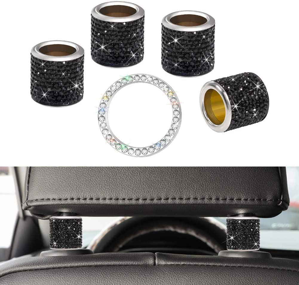 SAVORI Car Headrest Collars Car Accessories Bling Head Rest Rings Decor Crystal Rhinestone Interior Decoration for Car SUV Truck 4 Pack and Ignition Button Ring Sticker 1Pack (Black)