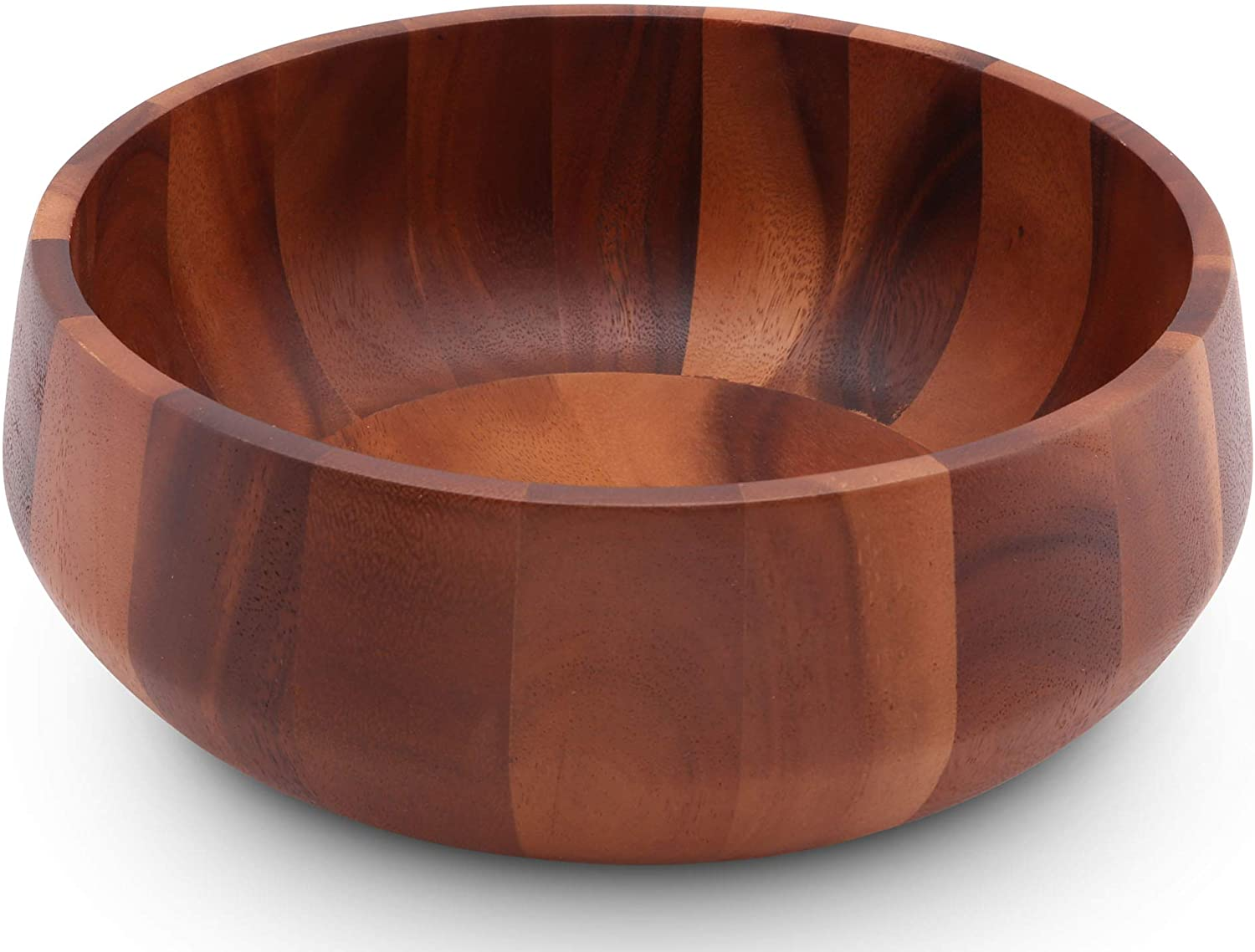 Arthur Court Acacia Wood Serving Bowl for Fruits or Salads Modern Round Shape Style Large 11