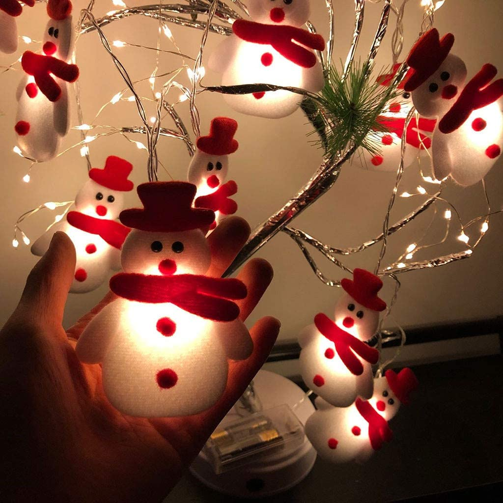 Christmas Snowman String Lights, Santa Claus String Lights, 10 LEDs 5ft Battery Operated Warm White String Lights for Christmas Decoration, Christmas Tree, Home, Garden, Christmas Party Supplies