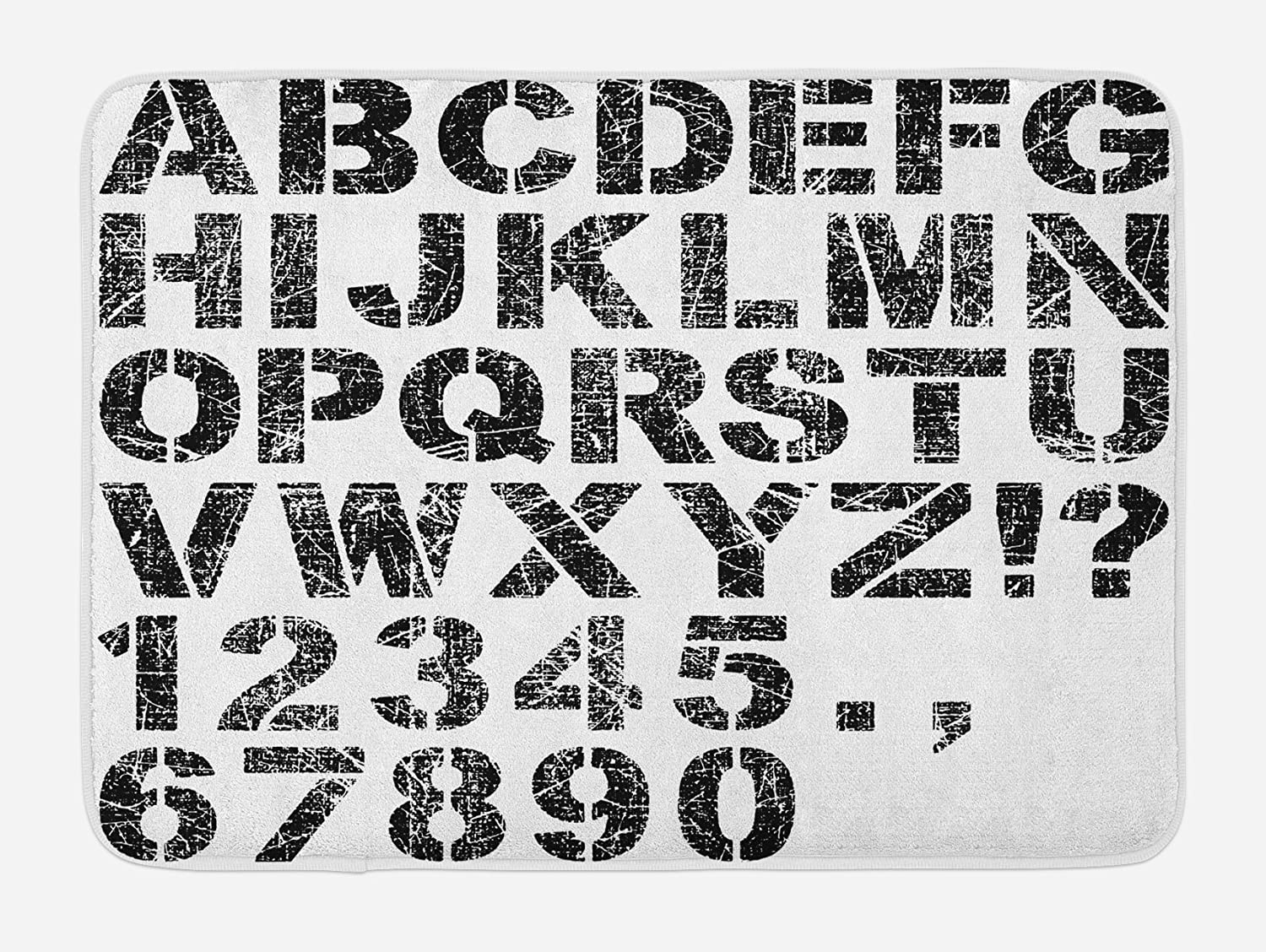 Ambesonne Letters Bath Mat, Alphabet Concept Grunge Stencil Letters and Numbers Distressed Scratched Look, Plush Bathroom Decor Mat with Non Slip Backing, 29.5
