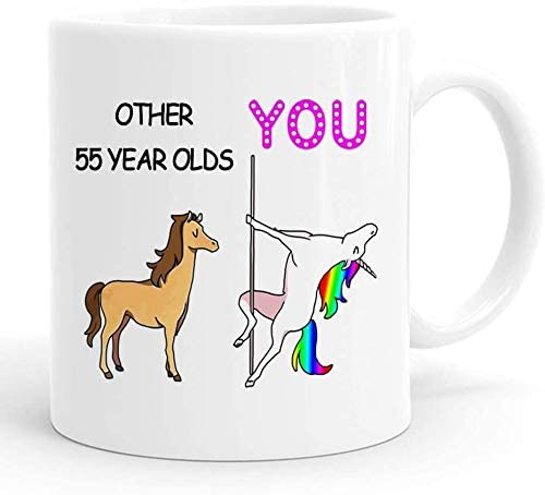Funny 55th Birthday Gifts for Women ,55th Birthday Gift, 55th Birthday Mug, 1964 55 Year Old Birthday Gifts, Happy 55th Birthday Gag Mugs for Her, Friend, Mom, Sister, Wife, Coworker ,11 Ounces (Me)