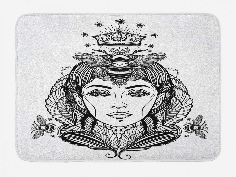 Ambesonne Queen Bath Mat, Queen Bee Portrait Female Fantasy Folklore Artwork, Plush Bathroom Decor Mat with Non Slip Backing, 29.5