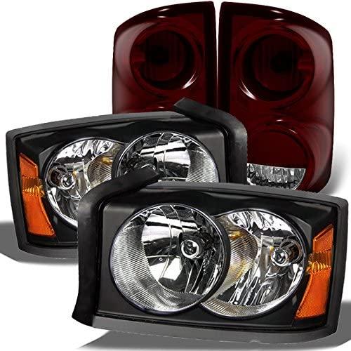 For Dodge Dakota Black Headlights Headlamps Repalcement Pair + Dark Red Tail Lights Combo Pair Set