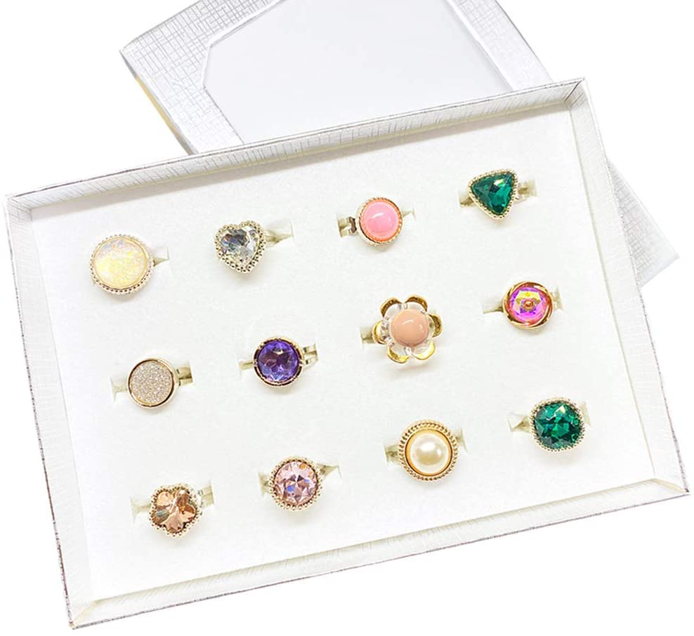 RainbowTrip Jewelry Ring Set, 12pc Shine Rings for Kid's, Little Girl Jewel Rings in Box, Adjustable, No Duplication, Girl Pretend Play and Dress Up Rings (12-Shine Rings)