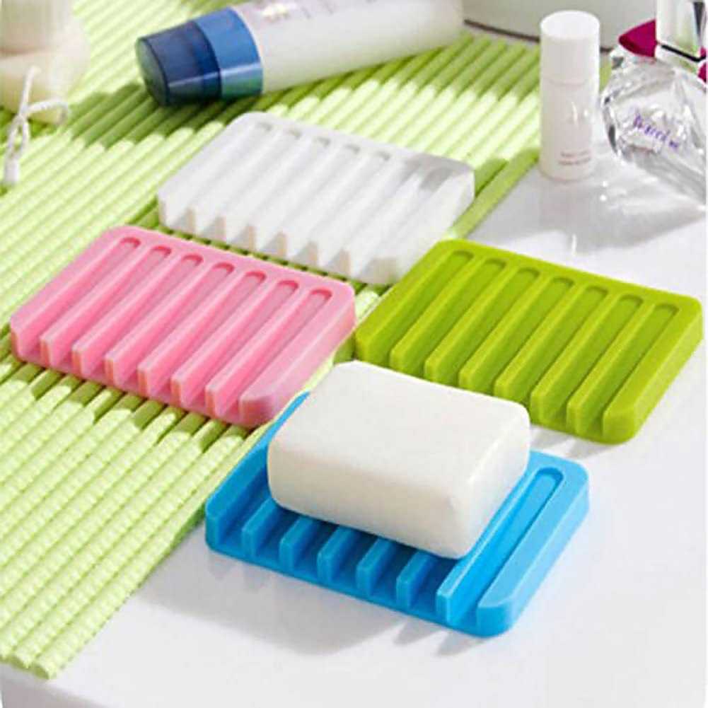 Greatstar Silicone Soap Holder for Shower/ Bathroom/ Kitchen, Keep Soap Bars Dry and Clean, Easy Cleaning, Rectangle 4 Pack