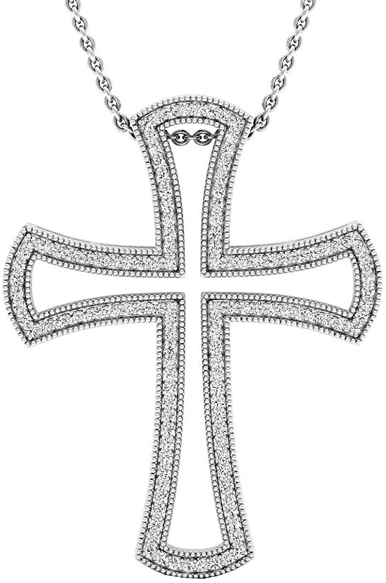 Dazzlingrock Collection 0.55 Carat (ctw) 14K Gold Round White Diamond Men's Ladies Unisex Cross Pendant 1/2 CT