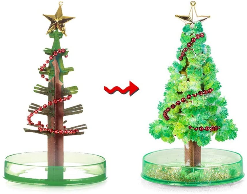 Futomcop 2 PCS Magic Growing Crystal Christmas Tree, Kids DIY Felt Magic Growing Halloween Decorations Tree/Xmas Ornaments/Wall Hanging Gifts for Kids Funny Educational/Party Toys