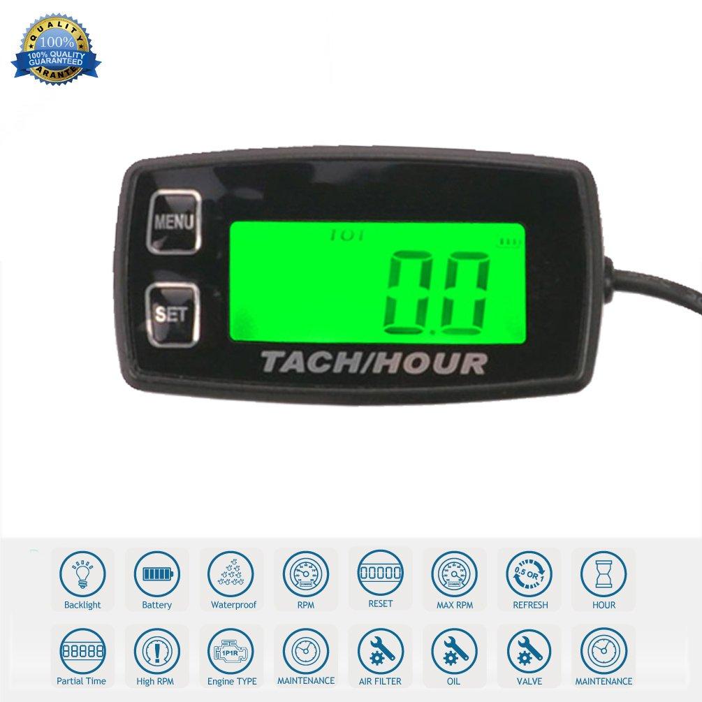 Runleader Self Powered Hour Meter Tachometer,Maintenance Reminder, Alert RPM,Backlit Display,Battery Replaceable for ZTR Lawn Mower Tractor Generator Outboard ATV Jetski Dirtbike.