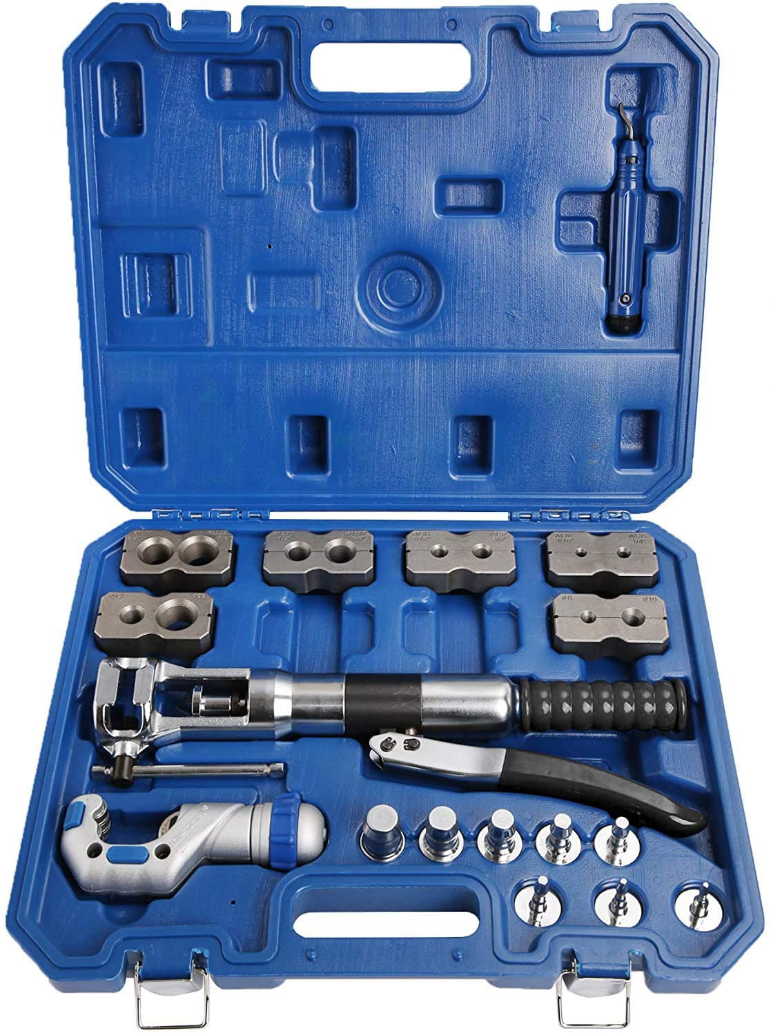 Mophorn Hydraulic Flaring Tool Kit with Tube Cutter Flare Tool Kit Deburrer Fuel Line 8PCS Swage Adapter Brake Flaring Tool Kit