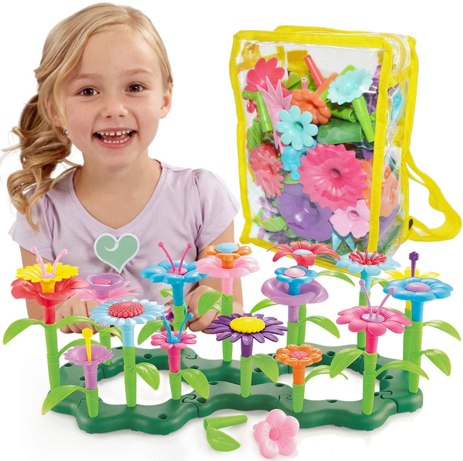 POMIKU Latest Flower Garden Building Toys, Gardening Pretend Play for Kids, Funny Educational Gifts for 3, 4, 5, 6 Year Old Girls and Boys (109 PCS)