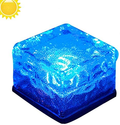 Solar Powered Lights Outdoor - LED Brick Glass Landscape Light - Waterproof Solar Garden Lights - In Ground Lights for Patio Lawn Pathway Yard Driveway (Blue)