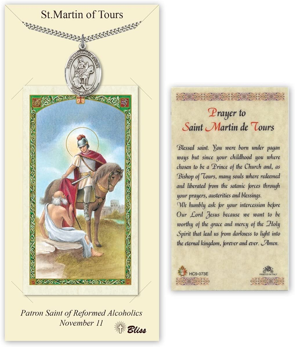 Pewter Saint Martin of Tours Medal with Laminated Holy Prayer Card