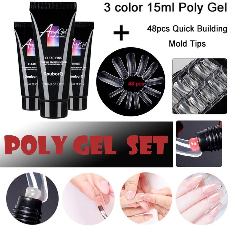 Nail Jelly, Poly Gel Lasting Finger Nail Crystal Jelly Camo Uv Light Expansion Set, Nail Extension Gel Fake Nail Set