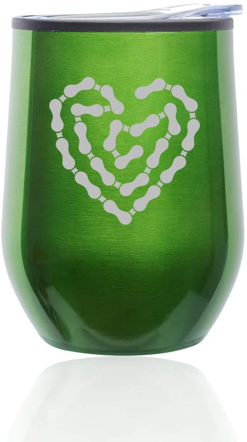 Stemless Wine Tumbler Coffee Travel Mug Glass With Lid Heart Love Bike Chain (Green)