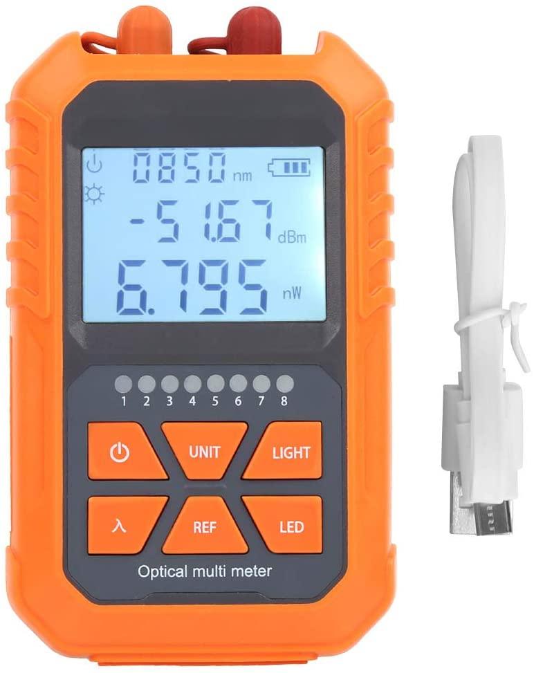 Fiber Optical Power Meter FC/SC/ST Interface Fiber Light Attenuation Tester with Wavelength Memory, Wavelength Range 800-1700nm