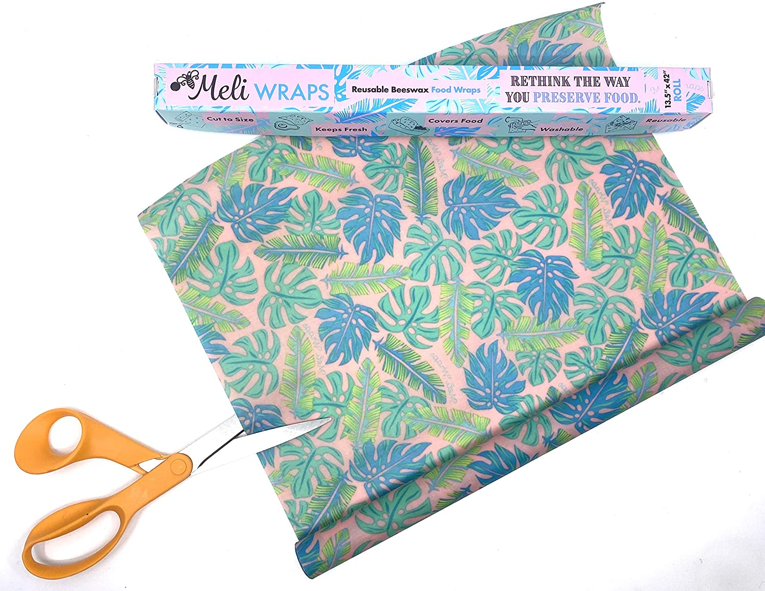 Meli Wraps is On A Roll ~ Reusable Bees Wax Roll Cut To Size. 100% GOTS Certified Organic Cotton. Beautiful Designer Print. Long-lasting, Reusable, Durable Earth-Friendly. (1 Roll Kahanu Print)